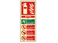 Scan SCA1590 - Fire Extinguisher Composite Water - Photoluminescent 75 x 200mm