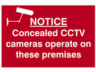 Scan SCA1607 - Notice Concealed CCTV Cameras Operate On These Premises - PVC 300 x 200mm