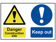 Scan SCA4005 - Danger Contruction Site Keep Out - PVC 600 x 400mm