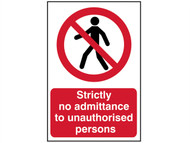 Scan SCA4052 - Strictly No Admittance To Unauthorised Persons - PVC 400 x 600mm