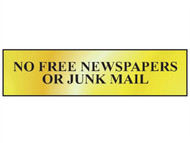 Scan SCA6023 - No Free Newspapers Or Junk Mail - Polished Brass Effect 200 x 50mm