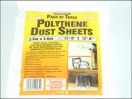 Stanley Tools STA129285 - Polythene Dust Sheets 3.6 x 3.6m (3)