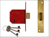 UNION UNNJ2134EP25 - 2134E 5 Lever BS Mortice Deadlock Satin Brass Finish 67mm 2.5in Box