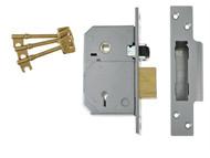UNION UNNV3K74PL67 - 3K74E C-Series 5 Lever Mortice Rollerbolt Sashlock Brass 67mm