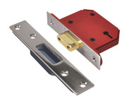 UNION UNNY2103SS25 - StrongBOLT 2103S 3 Lever Mortice Deadlock Stainless Steel 68mm 2.5in Visi