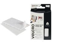 VELCRO Brand VEL60240 - VELCRO Brand Heavy-Duty Stick On Strips (2) 50 x100mm White