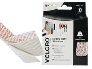 VELCRO Brand VEL60242 - VELCRO Brand Heavy-Duty Stick On Tape 50mm x 1m White