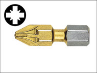 Witte WIT26821 - Pozidriv 1pt Titanium Coated Screwdriver Bits 25mm (Card of 2)