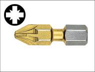 Witte WIT26823 - Pozidriv 3pt Titanium Coated Screwdriver Bits 25mm (Card of 2)