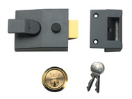 Yale Locks YAL88DMGSC - 88 Standard Nightlatch 60mm Backset DMG Finish Satin Chrome Cylinder Box
