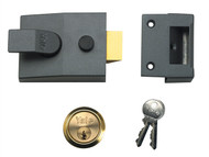 Yale Locks YAL89DMGSC - 89 Deadlock Nightlatch 60mm Backset DMG Finish Satin Chrome Cylinder Box