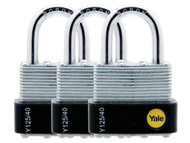 Yale Locks YALY125403PK - Y125 40mm Laminated Steel Padlock (3 Pack)