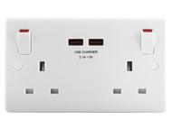 Masterplug MST822U - 2 Gang Switched Socket Outlet + USB Charger 13 Amp