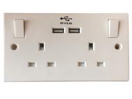 SMJ SMJPPSK2USB - Switched Socket 2 Gang 13A With 2 x USB