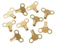 Dickie Dyer DDY11042 - Brass Clock Type Radiator Keys (Pack of 10)