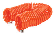 """Sealey AH10C/6 PU Coiled Air Hose 10mtr x ¯6mm with 1/4""""BSP Unions"""