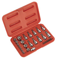 "Sealey AK6193 TRX-Star Socket & Security Bit Set 29pc 1/4""Sq & 3/8""Sq Drive"