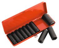 """Sealey AK58/11M Impact Socket Set 10pc 1/2""""Sq Drive Deep Metric"""