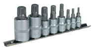 "Sealey AK6214 Spline Socket Bit Set 8pc 1/4"", 3/8"" & 1/2""Sq Drive"