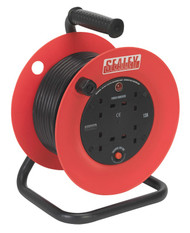 Sealey CR25/1.5 Cable Reel 25mtr 4 x 230V 1.5mm_ Heavy-Duty Thermal Trip