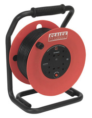 Sealey CR50/1.5 Cable Reel 50mtr 4 x 230V 1.5mm_ Heavy-Duty Thermal Trip