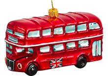 British Double Decker Bus Glass Christmas Ornament