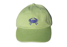 Crab Embroidered Baseball Cap on Lime