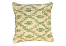 Ikat Hooked Wool Pillow in Pistachio