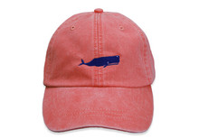 Whale Embroidered Baseball Cap on Coral