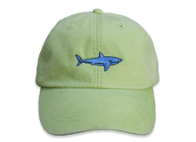Shark Embroidered Baseball Cap on Lime