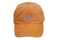 Road Bike Embroidered Baseball Cap on Tangerine