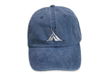 Sailboat Embroidered Baseball Cap on Midnight Navy