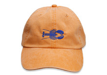 Lobster Embroidered Baseball Cap on Tangerine