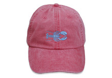 Lobster Embroidered Baseball Cap on Poppy
