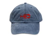Lobster Embroidered Baseball Cap on Midnight Blue