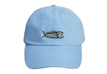 Hopkins Fish Embroidered Baseball Cap on Light Blue