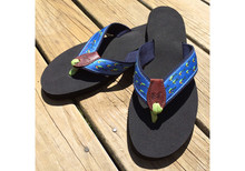 School of Fish Flip Flops on Navy Webbing