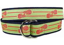 Lacrosse Sticks Ribbon Ladies Belt in Lime
