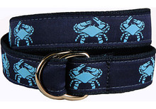 Crab Ribbon Ladies Belt Navy