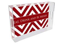Red Grande Chevron Lucite Tray