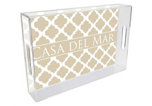 Chelsea Grande Lucite Tray in Tan