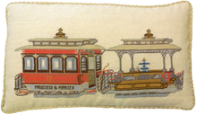 Trolley Car Needlepoint Pillow 3