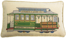 Trolley Car Needlepoint Pillow 2