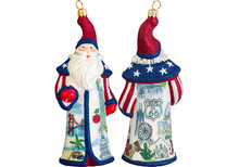 Americana Santa Glass Christmas Ornament