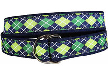 Argyle Ribbon Belt (Navy/Green) D-Ring