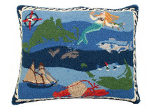 Nantucket / Martha's Vineyard Hooked Wool Pillow