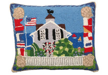 Beach House Hooked Wool Pillow