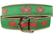 Pink Crab on Green Ribbon Belt