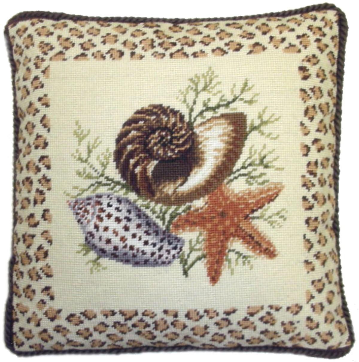 Seashells Needlepoint Pillow with Animal Print Border II A&L HOME