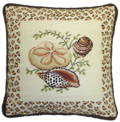 Animal Print Needlepoint Pillows : Seashells Needlepoint Pillow with Animal Print Border A&L HOME